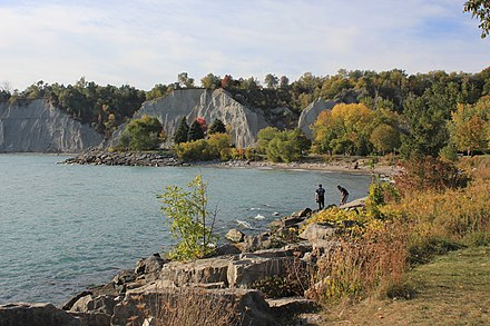The Scarborough Bluffs is an escarpment, formed during the Last Glacial Period, which runs along the eastern portion of the Toronto waterfront. Scarborough Bluffs - Laslovarga (56).jpg