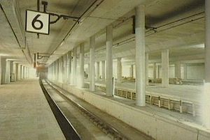 Schiphol Airport railway station - Rail tunnel and underground platforms of the station under construction in 1992