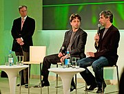 Left to right,  Eric E. Schmidt,  Sergey Brin and Larry Page