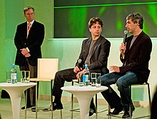 Eric E. Schmidt, Sergey Brin, and Larry Page sitting together