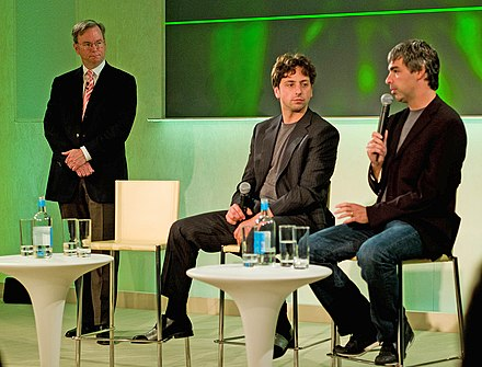Then-CEO, now Chairman of Google Eric Schmidt with cofounders Sergey Brin and Larry Page (left to right) in 2008. Schmidt-Brin-Page-20080520.jpg