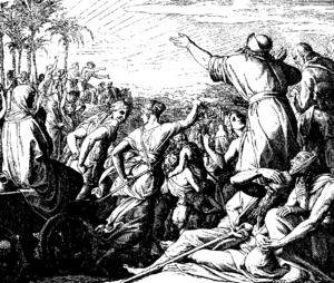 Ezra - Woodcut for Die Bibel in Bildern, 1860, by Julius Schnorr von Carolsfeld.