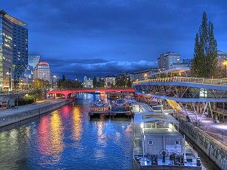 Donaukanal - The Schwedenplatz boat terminal by night