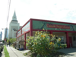 Cascade, Seattle - Cascade People's Center and Immanuel Lutheran Church. The church is listed on the National Register of Historic Places.
