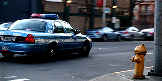 Seattle Police Department - A Seattle Police car on patrol near 2nd Ave downtown.