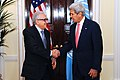Secretary Kerry, Special Representative Brahimi Shake Hands After News Conference (10269468746).jpg