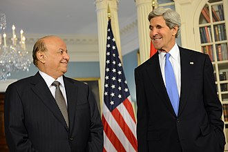 Abdrabbuh Mansur Hadi - Hadi meets U.S. Secretary of State John Kerry, 29 July 2013
