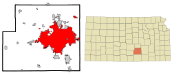 Sedgwick County Kansas Incorporated and Unincorporated areas Wichita Highlighted.svg