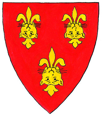Denys family of Siston - Arms of Bishop of Hereford Thomas de Cantilupe (c.1218-1282): Gules, three leopard's faces reversed jessant-de-lys or. These arms were subsequently assumed by the See of Hereford