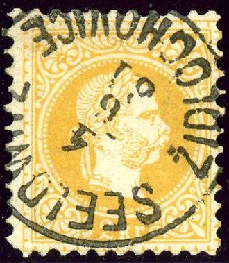 Židlochovice - Austrian KK 2 kr stamp, bilingual cancelled in 1881