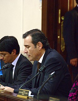 Photograph of Senator Corzo during an intervention in the 1st Commission of the Senate on 14 June 2011.