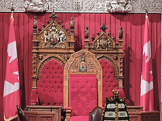 Senate of Canada - The three thrones at the head of the Canadian Senate chambers.