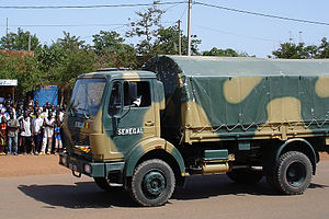A truck from a Senegalese military unit convoy...