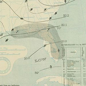 1897 Atlantic hurricane season - Image: September 29, 1897 tropical storm 4 map