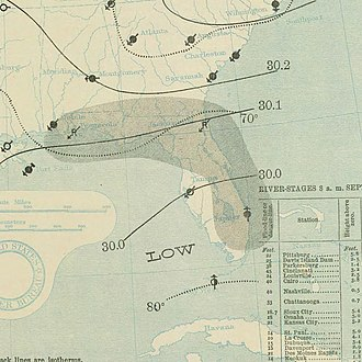 1897 Atlantic hurricane season - Image: September 29, 1897 tropical storm 4 map