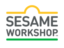 "Logo for Sesame Workshop, created in 2018 simultaneously with the premiere of ""Esme and Roy."" Features the words ""SESAME WORKSHOP"" (all-caps) in gray inside border lines of yellow on the top and green on the bottom that together form a shape similar to the ""Sesame Street"" sign."