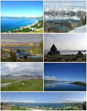 From top left: Sevan landscape • Vaskenian Theological Academy Sevan peninsula • Sevan Monastery Sevan skyline • Lake Sevan Panoramic view of Sevan beach