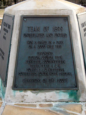 1899 Sewanee Tigers football team - Commemorative plaque on the base of the flagpole at McGee Field.