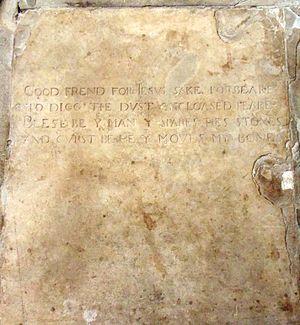1616 in literature - Shakespeare's gravestone