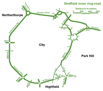 Ring road - The inner ring road of Sheffield, England