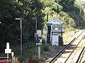 Shepherds Well railway station, Signal box, EG04, August 2013.JPG