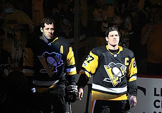 "Sidney Crosby - Crosby and Evgeni Malkin (left) became the cornerstone players of the Pittsburgh Penguins in the mid-2000s, earning the nickname ""The Two-Headed Monster""."