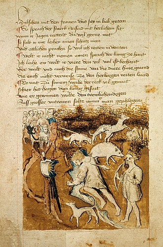 Sigurd - The death of Siegfried. Hagen stands to the right of Siegfried with a bow. From the Hundeshagenscher Kodex.