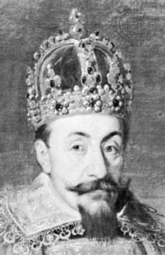 """Muscovy Crown - Portrait of King Sigismund III Vasa in coronation robes (detail), wearing the """"Muscovy Crown"""", circa 1626"""
