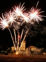 Fireworks light up the village at its annual fete