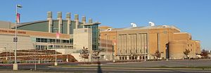 Tyson Events Center - Tyson Events Center features Gateway Arena (2002-2003, left) and Long Lines Family Recreation Center (right), formerly the Sioux City Municipal Auditorium (1938-1950).