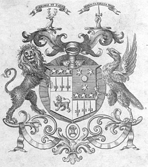 Bookplate - Sir Patrick (Peter) Budge Murray Threipland 4th Bt. of Fingask Castle (1762–1837). From a copy of a 1761 Book of Common Prayer