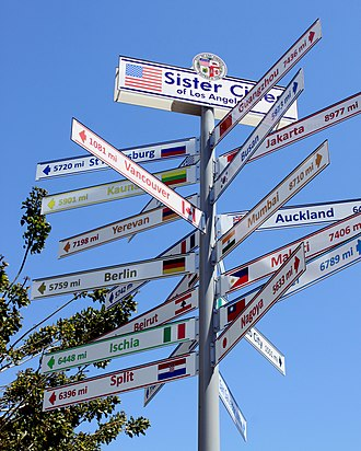 A sign near City Hall points to the sister cities of Los Angeles. Sister cities of Los Angeles.jpg