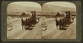 Six-horse tally-ho leaving mountain walled Gardiner for trip through Yellowstone Park, U.S.A, by Underwood & Underwood 5.png