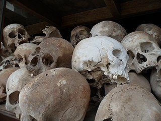 murder of approx. 1.5 to 3 million Cambodians, along with mass detention and torture, carried out by the Khmer Rouge government between 1975 and 1979