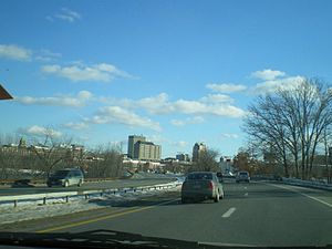 Interstate 293 - A view of the city of Manchester, N.H. when traveling southbound on I-293