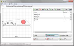 Slic3r - Image: Slic 3r printscreen