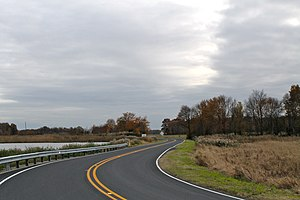 Delaware Route 9 - DE 9 southbound through the Woodland Beach Wildlife Area