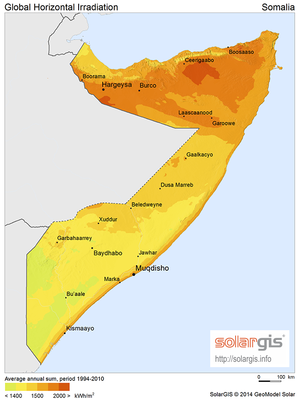 Solar power in Somalia - Solar potential