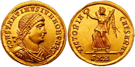 Solidus issued under Constantine II, and on the reverse Victoria, one of the last deities to appear on Roman coins, gradually transforming into an angel under Christian rule Solidus Constantine II-heraclea RIC vII 101.jpg