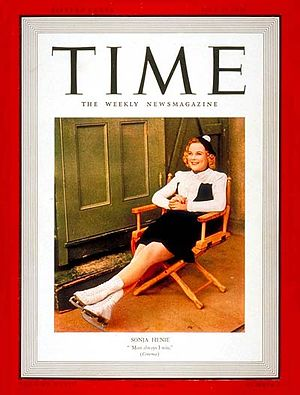 Sonja Henie - Sonja Henie appeared on the cover of ''Time'' magazine on July 17, 1939.