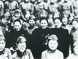 Soong sisters - The Soong sisters visiting Nationalist women soldiers.