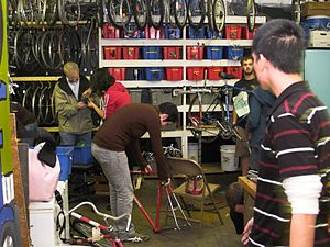 Bicycle cooperative - Assisted-service bicycle repair at the Sopo Bicycle Cooperative in Atlanta, Georgia