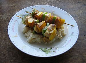 Chicken sosaties with green and yellow peppers...