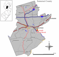Map of South Bound Brook in Somerset County. Inset: Location of Somerset County highlighted in the State of New Jersey.