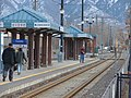 Southeast at passenger platform at Midvale Center station, Jan 15.jpg