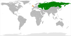 Map indicating locations of Soviet Union and UK