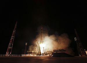 Soyuz TMA-21 - A Soyuz-FG rocket lifts the Soyuz TMA-21 spacecraft to orbit on April 4, 2011.