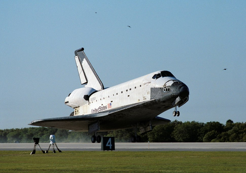 Space Shuttle Columbia lands following STS-62 on 18 March 1994.