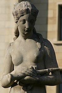 Mujer con niño y flautín (Detalle mujer)