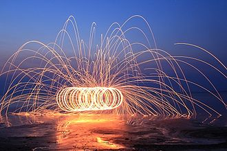 Special effect - Spinning fiery steel wool at night